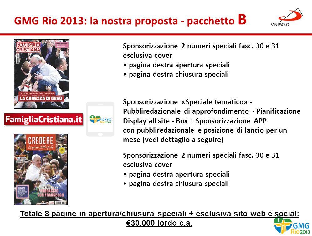 Benessere Gennaio 2013 GMG Rio 2013: la nostra proposta - pacchetto B Sponsorizzazione 2 numeri speciali fasc.