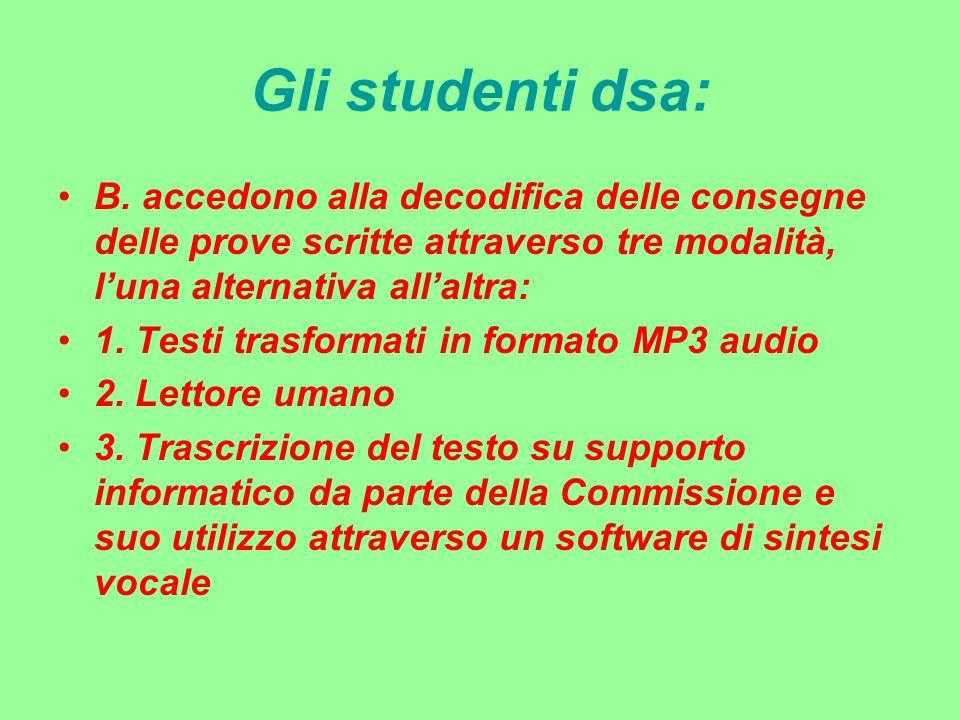 Gli studenti dsa: B. accedono alla decodifica delle consegne delle prove scritte attraverso tre modalità, l'una alternativa all'altra: 1. Testi trasfo
