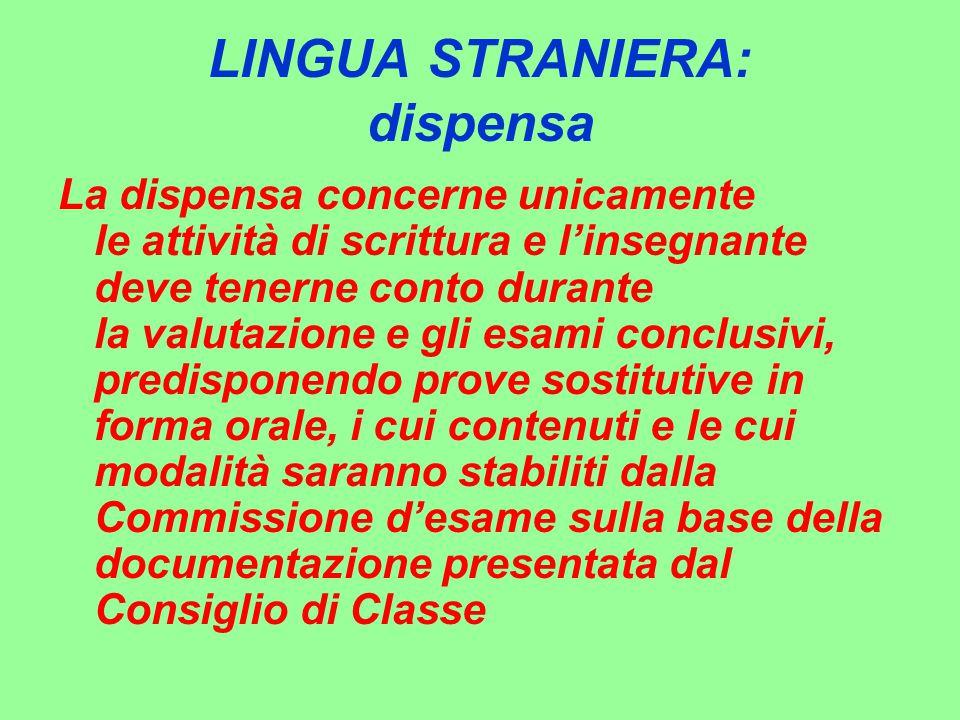LINGUA STRANIERA: dispensa La dispensa concerne unicamente le attività di scrittura e l'insegnante deve tenerne conto durante la valutazione e gli esa