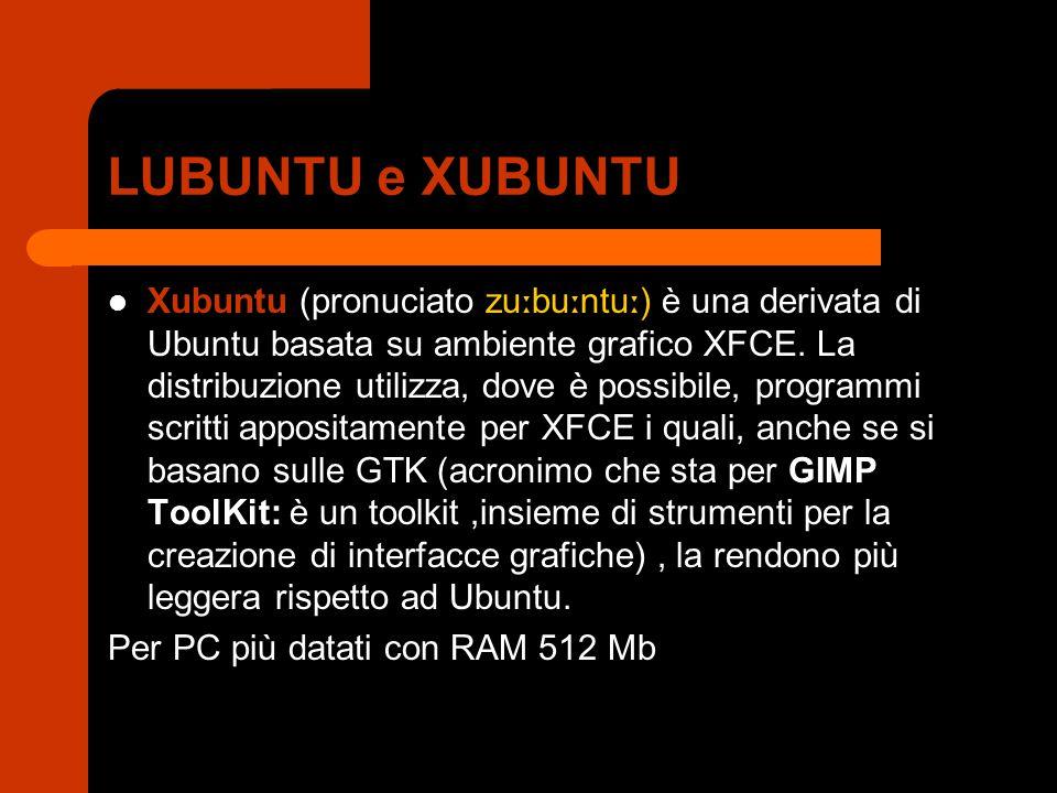 LUBUNTU e XUBUNTU Xubuntu (pronuciato zu ː bu ː ntu ː ) è una derivata di Ubuntu basata su ambiente grafico XFCE.