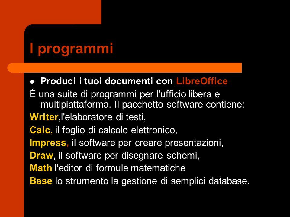 I programmi Produci i tuoi documenti con LibreOffice È una suite di programmi per l'ufficio libera e multipiattaforma. Il pacchetto software contiene:
