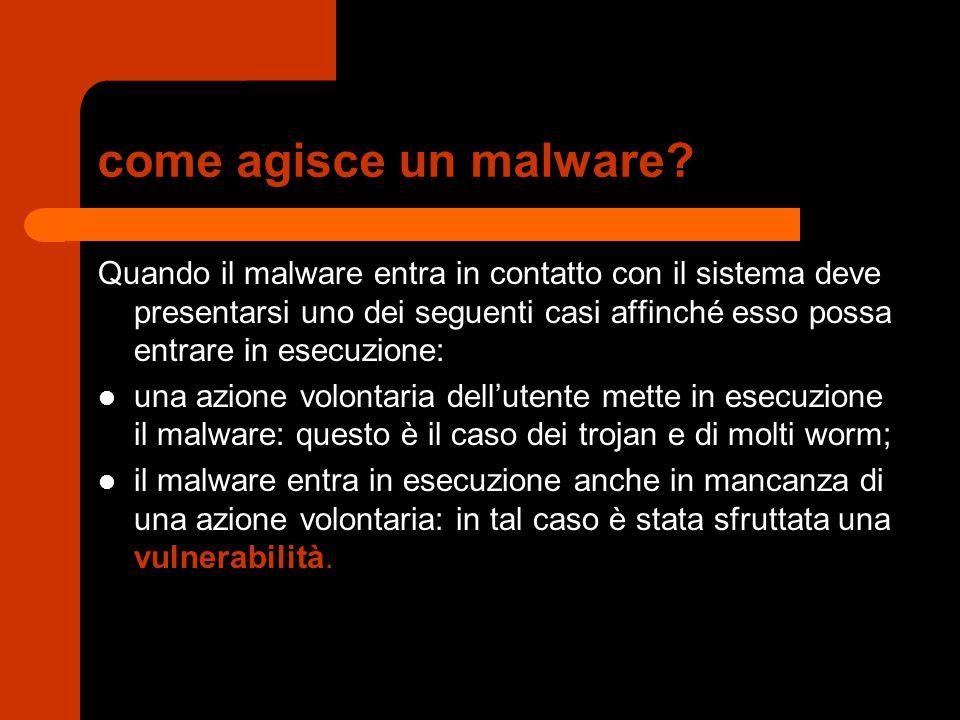 come agisce un malware? Quando il malware entra in contatto con il sistema deve presentarsi uno dei seguenti casi affinché esso possa entrare in esecu