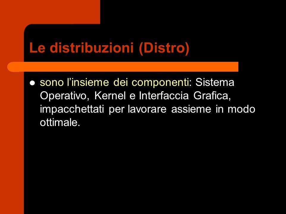 Le distribuzioni (Distro) sono l'insieme dei componenti: Sistema Operativo, Kernel e Interfaccia Grafica, impacchettati per lavorare assieme in modo o