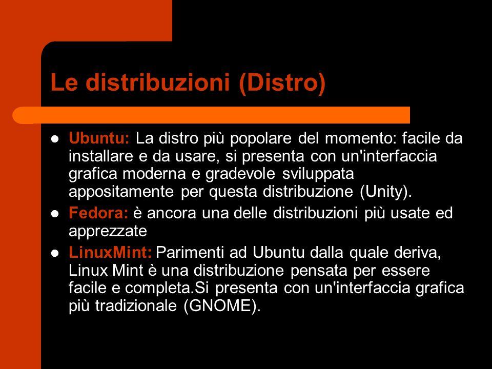 Le distribuzioni (Distro) Ubuntu: La distro più popolare del momento: facile da installare e da usare, si presenta con un'interfaccia grafica moderna