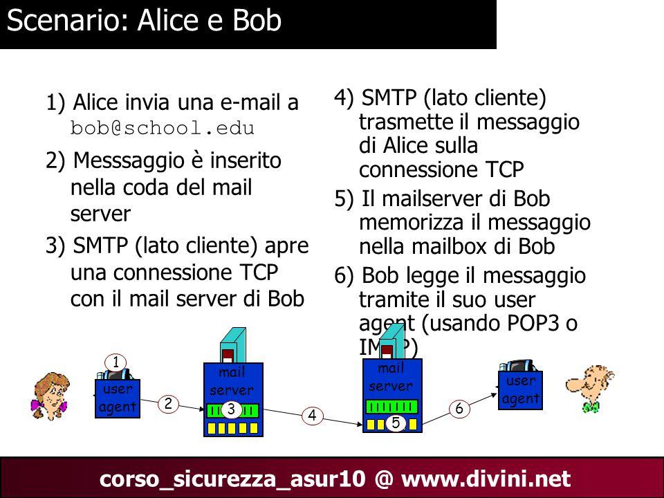 00 AN 12 corso_sicurezza_asur10 @ www.divini.net Scenario: Alice e Bob 1) Alice invia una e-mail a bob@school.edu 2) Messsaggio è inserito nella coda del mail server 3) SMTP (lato cliente) apre una connessione TCP con il mail server di Bob 4) SMTP (lato cliente) trasmette il messaggio di Alice sulla connessione TCP 5) Il mailserver di Bob memorizza il messaggio nella mailbox di Bob 6) Bob legge il messaggio tramite il suo user agent (usando POP3 o IMAP) user agent mail server mail server user agent 1 2 3 4 5 6