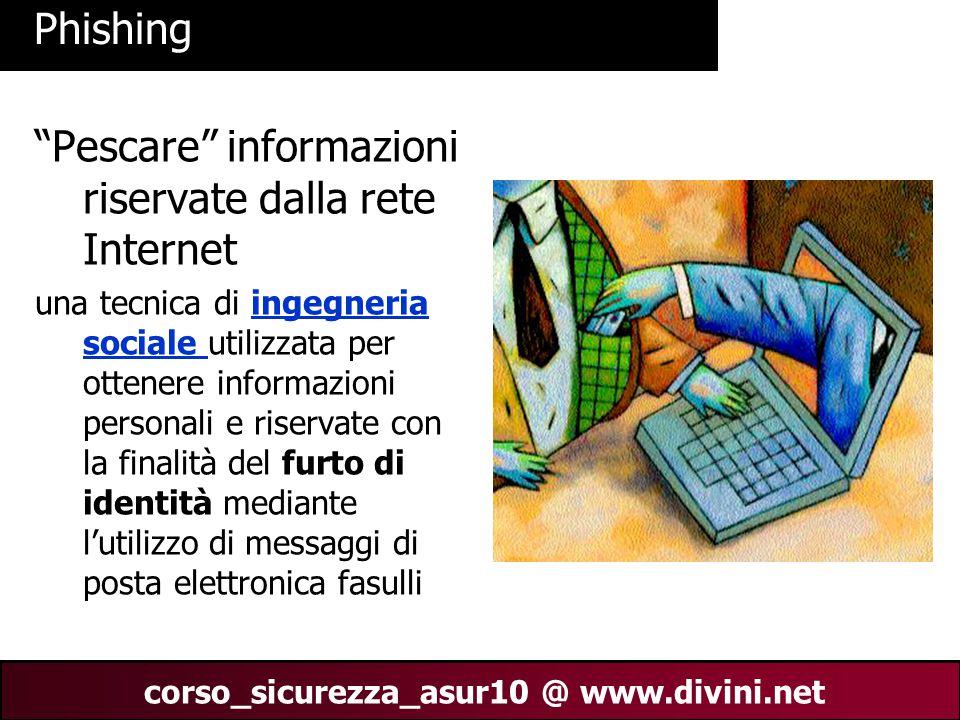 """00 AN 22 corso_sicurezza_asur10 @ www.divini.net Phishing """"Pescare"""" informazioni riservate dalla rete Internet una tecnica di ingegneria sociale utili"""
