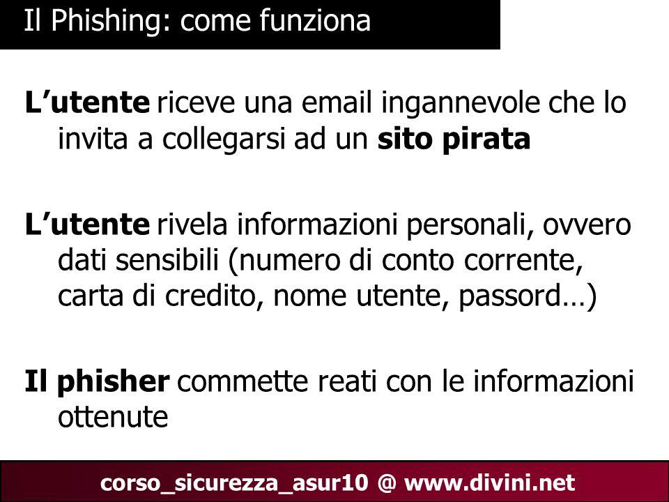00 AN 23 corso_sicurezza_asur10 @ www.divini.net Il Phishing: come funziona L'utente riceve una email ingannevole che lo invita a collegarsi ad un sit