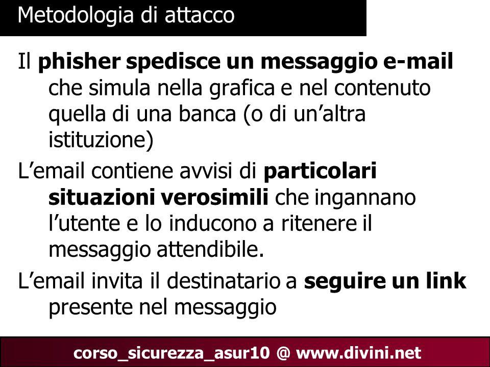 00 AN 25 corso_sicurezza_asur10 @ www.divini.net Metodologia di attacco Il phisher spedisce un messaggio e-mail che simula nella grafica e nel contenu
