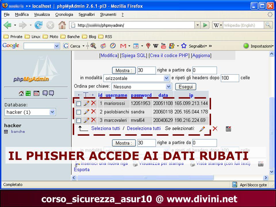 00 AN 28 corso_sicurezza_asur10 @ www.divini.net IMMAGINE DATABASE IL PHISHER ACCEDE AI DATI RUBATI