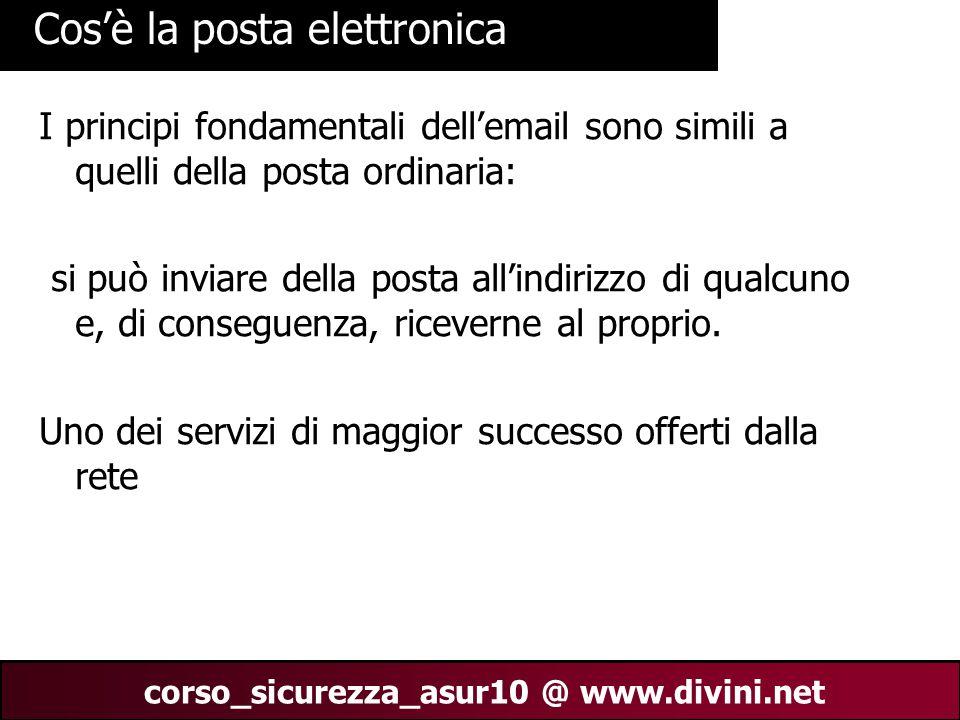 00 AN 3 corso_sicurezza_asur10 @ www.divini.net Cos'è la posta elettronica I principi fondamentali dell'email sono simili a quelli della posta ordinar