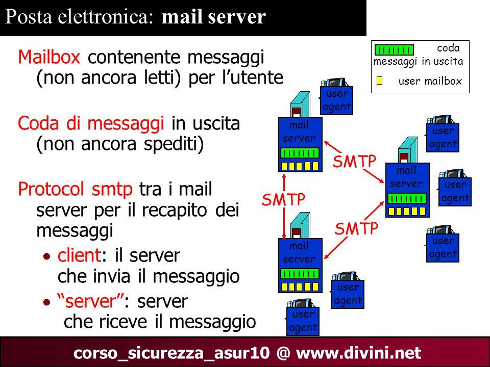 00 AN 9 corso_sicurezza_asur10 @ www.divini.net Posta elettronica: mail server Mailbox contenente messaggi (non ancora letti) per l'utente Coda di mes