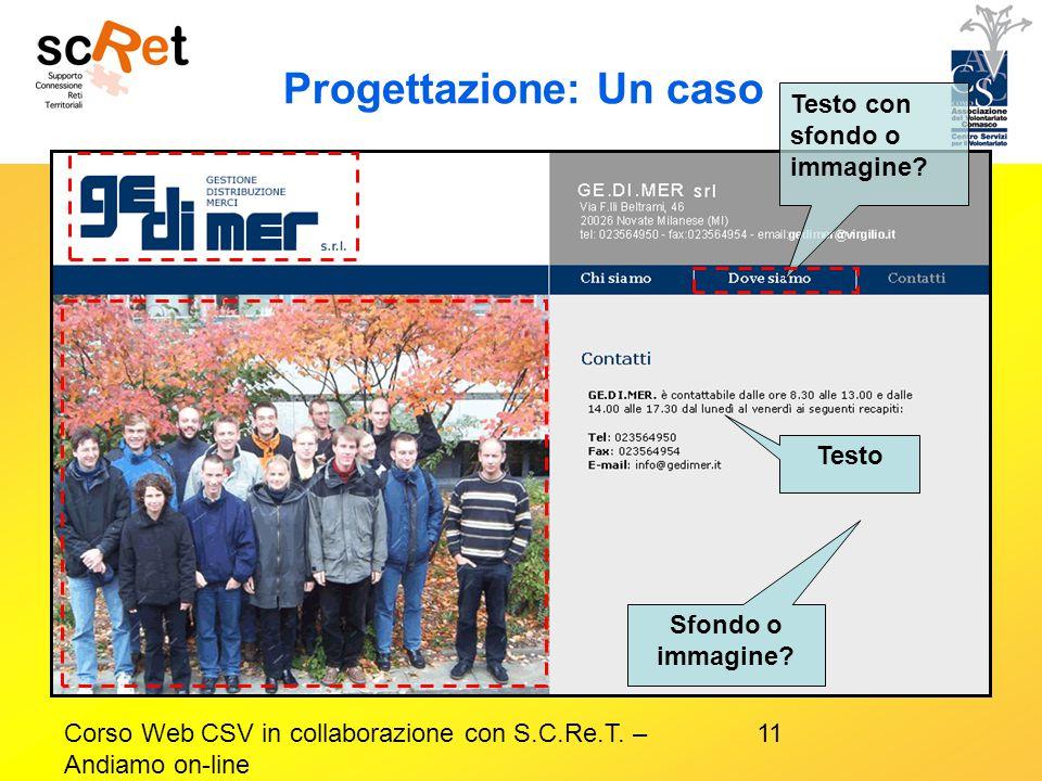 11Corso Web CSV in collaborazione con S.C.Re.T. – Andiamo on-line Progettazione: Un caso Testo con sfondo o immagine? Testo Sfondo o immagine?