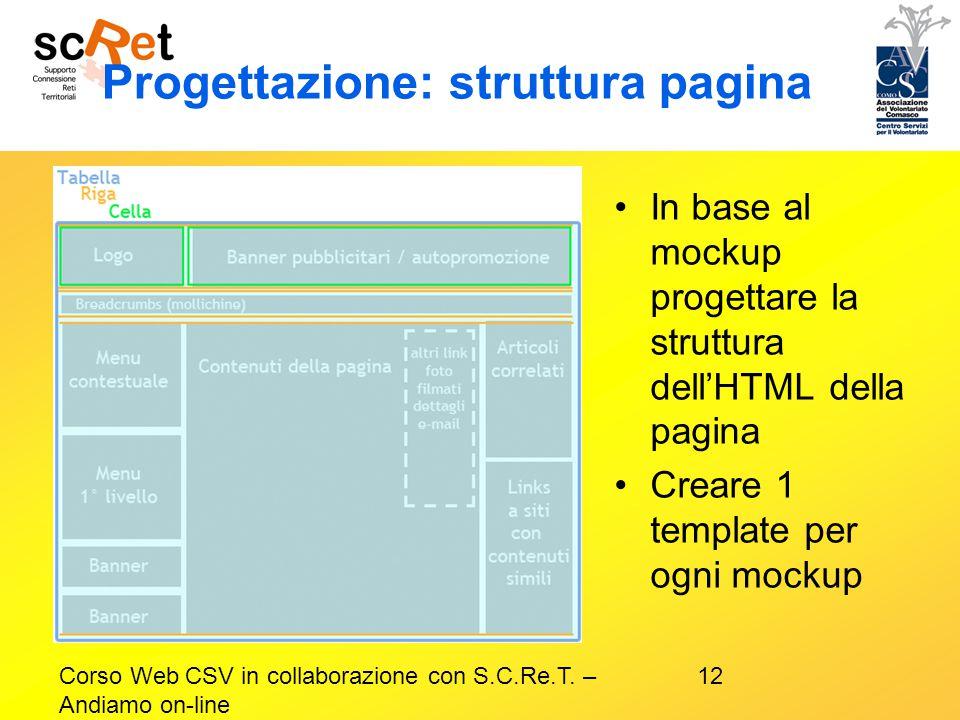 12Corso Web CSV in collaborazione con S.C.Re.T. – Andiamo on-line Progettazione: struttura pagina In base al mockup progettare la struttura dell'HTML