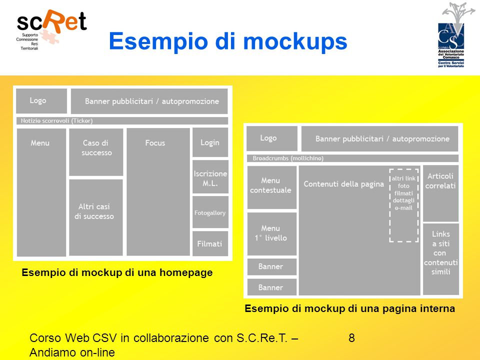 8Corso Web CSV in collaborazione con S.C.Re.T. – Andiamo on-line Esempio di mockups Esempio di mockup di una homepage Esempio di mockup di una pagina