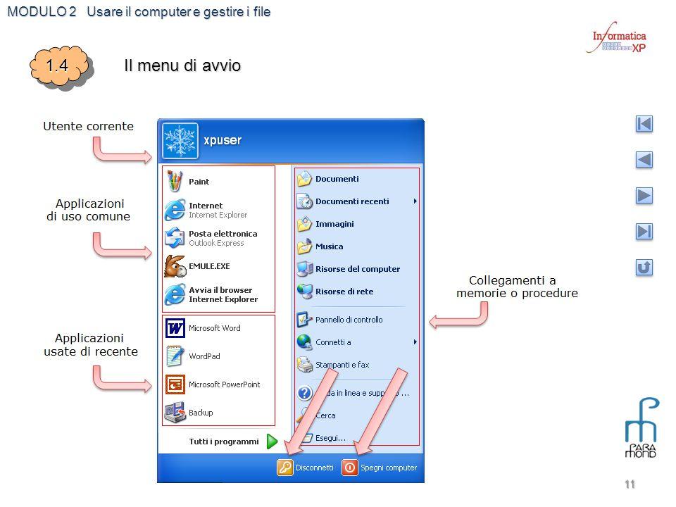 MODULO 2 Usare il computer e gestire i file 11 1.41.4 Il menu di avvio
