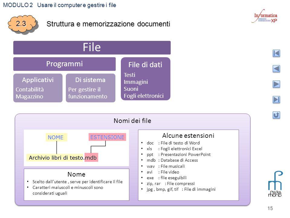 MODULO 2 Usare il computer e gestire i file 15 2.32.3 Struttura e memorizzazione documenti File Programmi Applicativi Contabilità Magazzino Di sistema