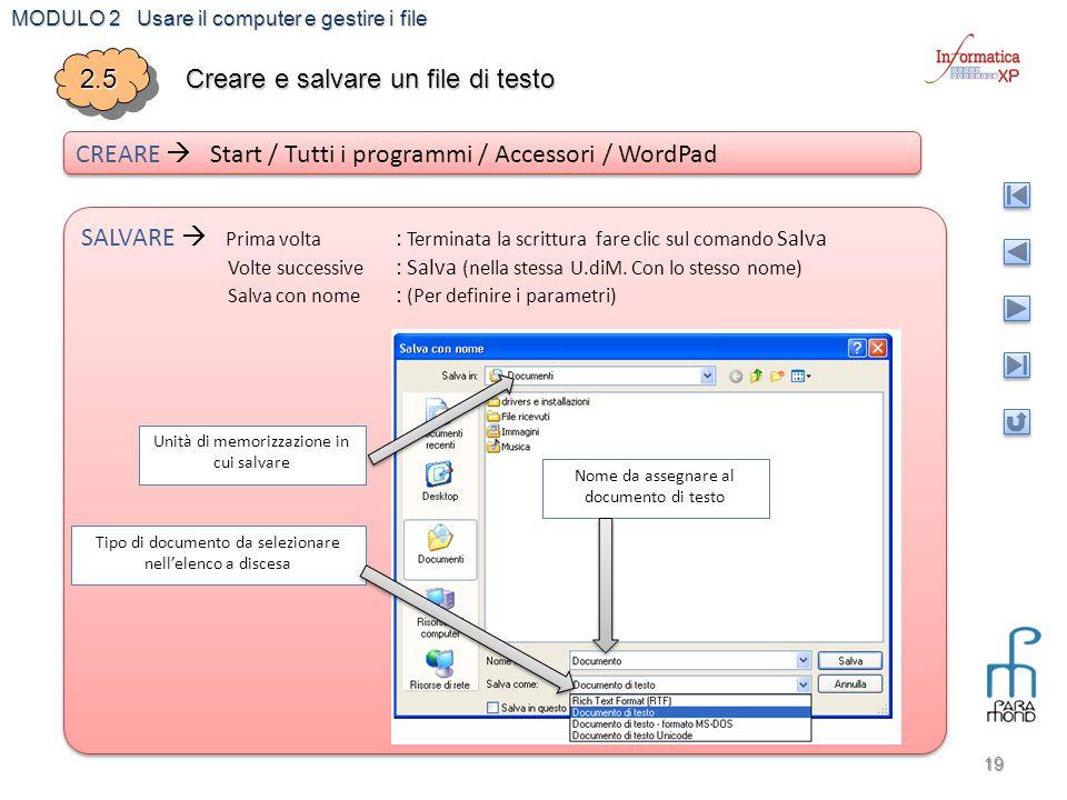 MODULO 2 Usare il computer e gestire i file 19 2.52.5 Creare e salvare un file di testo CREARE  Start / Tutti i programmi / Accessori / WordPad SALVA
