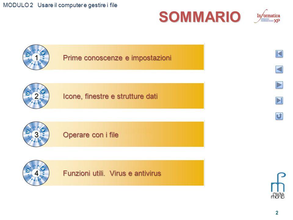 MODULO 2 Usare il computer e gestire i file 2 SOMMARIO Prime conoscenze e impostazioni 1 Icone, finestre e strutture dati 2 Operare con i file 3 Funzi