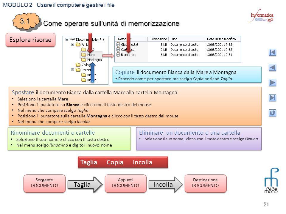 MODULO 2 Usare il computer e gestire i file Copia 21 3.13.1 Come operare sull'unità di memorizzazione Esplora risorse Spostare il documento Bianca dal