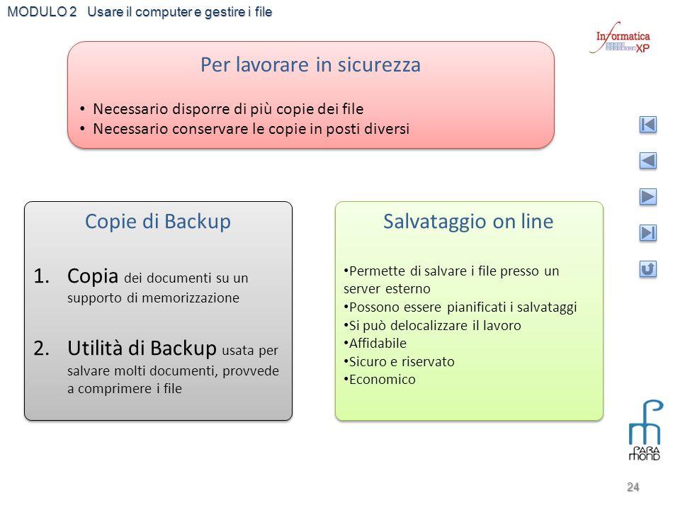 MODULO 2 Usare il computer e gestire i file 24 Per lavorare in sicurezza Necessario disporre di più copie dei file Necessario conservare le copie in p