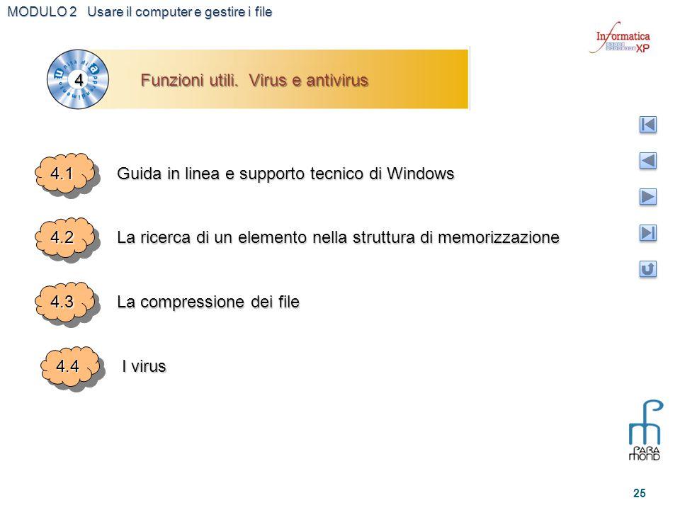 MODULO 2 Usare il computer e gestire i file 25 4.14.1 Guida in linea e supporto tecnico di Windows 4.24.2 La ricerca di un elemento nella struttura di