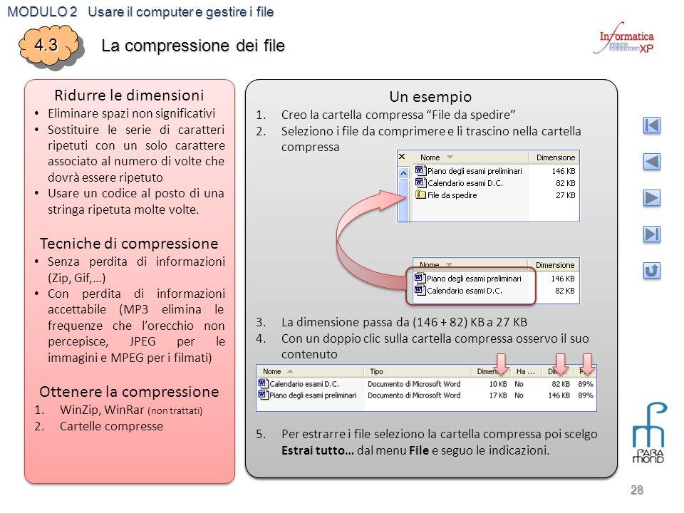 MODULO 2 Usare il computer e gestire i file 28 4.34.3 La compressione dei file Ridurre le dimensioni Eliminare spazi non significativi Sostituire le s