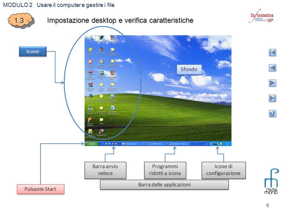 MODULO 2 Usare il computer e gestire i file 6 1.31.3 Impostazione desktop e verifica caratteristiche Icone Sfondo Pulsante Start Barra avvio veloce Ba