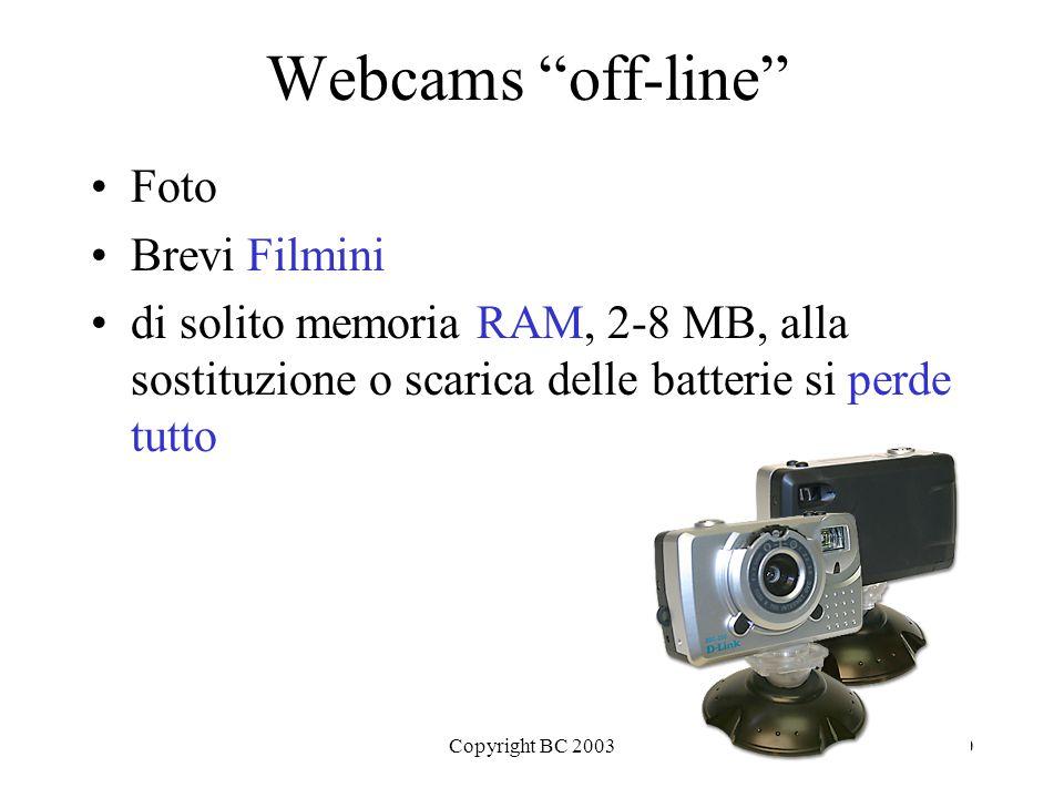 Copyright BC 200310 Webcams off-line Foto Brevi Filmini di solito memoria RAM, 2-8 MB, alla sostituzione o scarica delle batterie si perde tutto