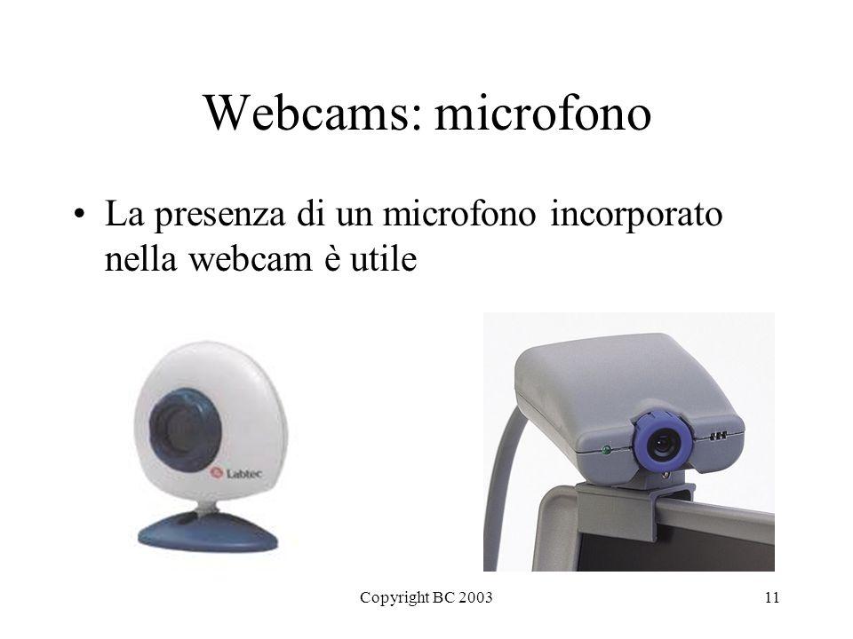 Copyright BC 200311 Webcams: microfono La presenza di un microfono incorporato nella webcam è utile