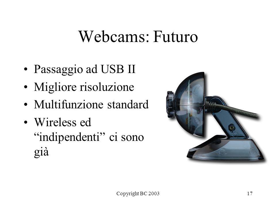Copyright BC 200317 Webcams: Futuro Passaggio ad USB II Migliore risoluzione Multifunzione standard Wireless ed indipendenti ci sono già