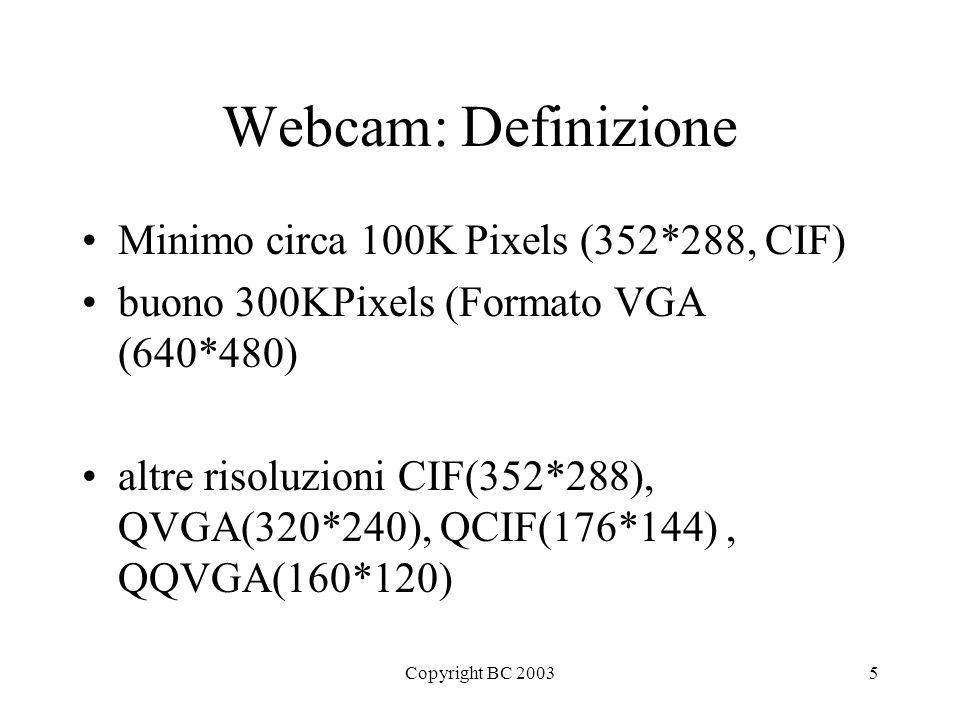 Copyright BC 20035 Webcam: Definizione Minimo circa 100K Pixels (352*288, CIF) buono 300KPixels (Formato VGA (640*480) altre risoluzioni CIF(352*288), QVGA(320*240), QCIF(176*144), QQVGA(160*120)