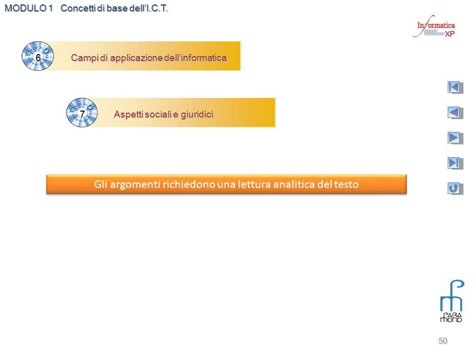 MODULO 1 Concetti di base dell'I.C.T. 50 Campi di applicazione dell'informatica 6 Aspetti sociali e giuridici 7 Gli argomenti richiedono una lettura a