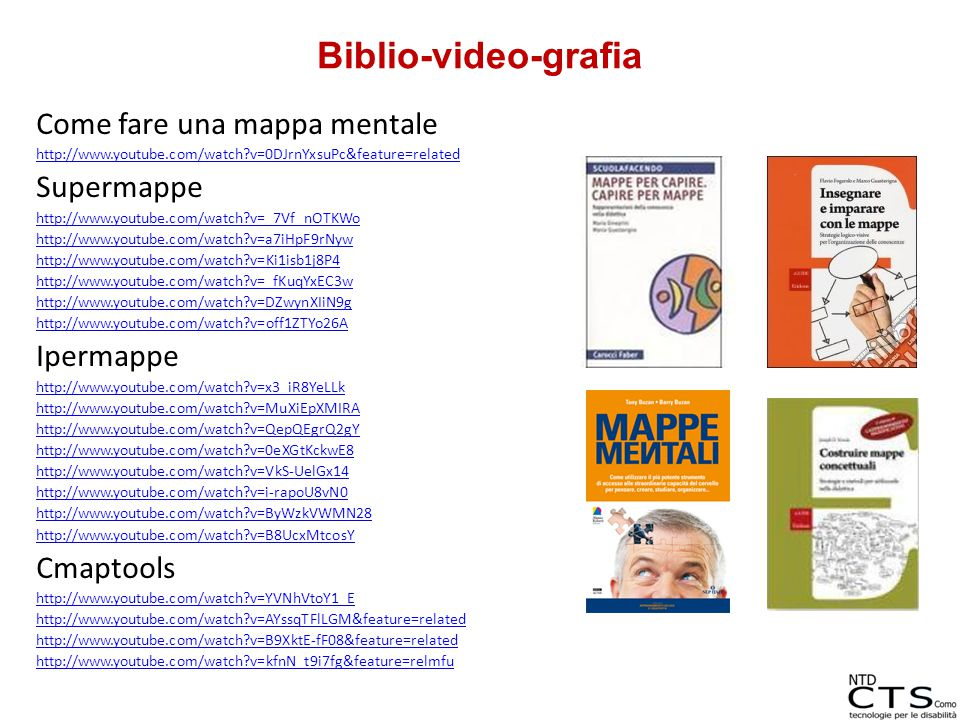 Come fare una mappa mentale http://www.youtube.com/watch?v=0DJrnYxsuPc&feature=related Supermappe http://www.youtube.com/watch?v=_7Vf_nOTKWo http://ww