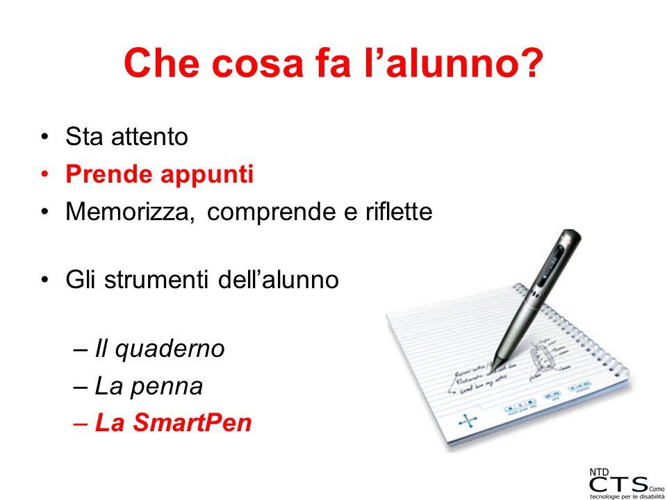 Che cosa fa l'alunno? Sta attento Prende appunti Memorizza, comprende e riflette Gli strumenti dell'alunno –Il quaderno –La penna –La SmartPen