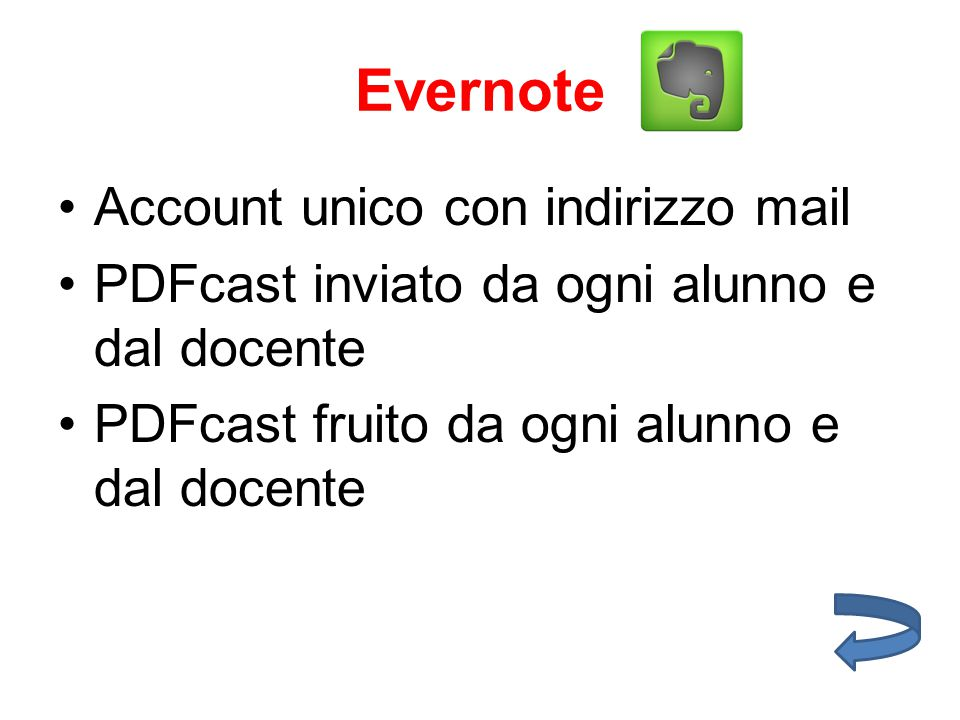 Evernote Account unico con indirizzo mail PDFcast inviato da ogni alunno e dal docente PDFcast fruito da ogni alunno e dal docente