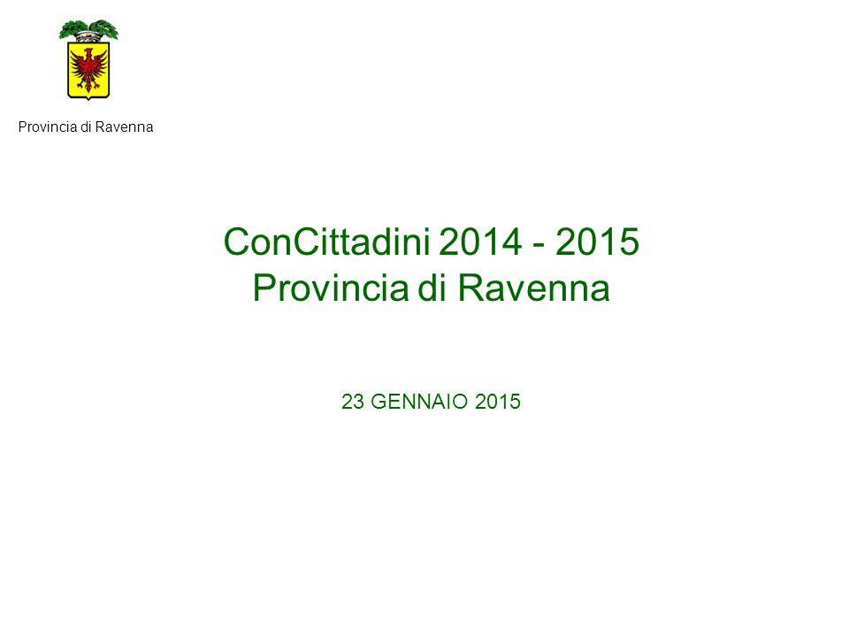ConCittadini 2014 - 2015 Provincia di Ravenna 23 GENNAIO 2015 Provincia di Ravenna
