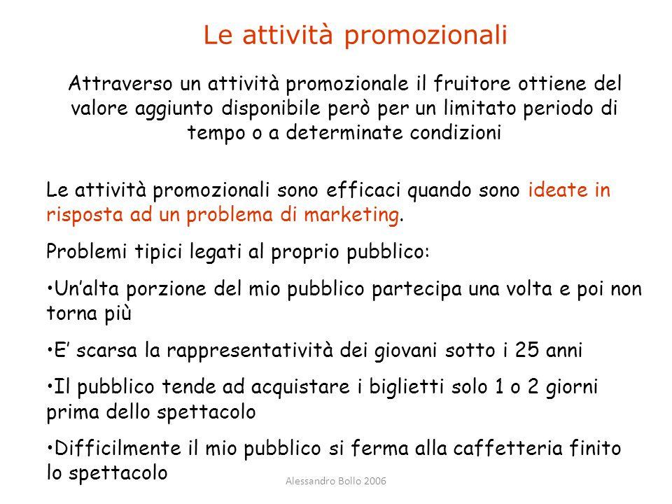 Alessandro Bollo 2006 Le attività promozionali Le attività promozionali sono efficaci quando sono ideate in risposta ad un problema di marketing. Prob