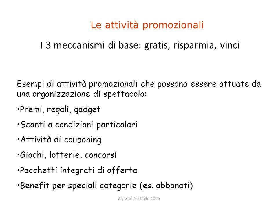 Alessandro Bollo 2006 Le attività promozionali Esempi di attività promozionali che possono essere attuate da una organizzazione di spettacolo: Premi,