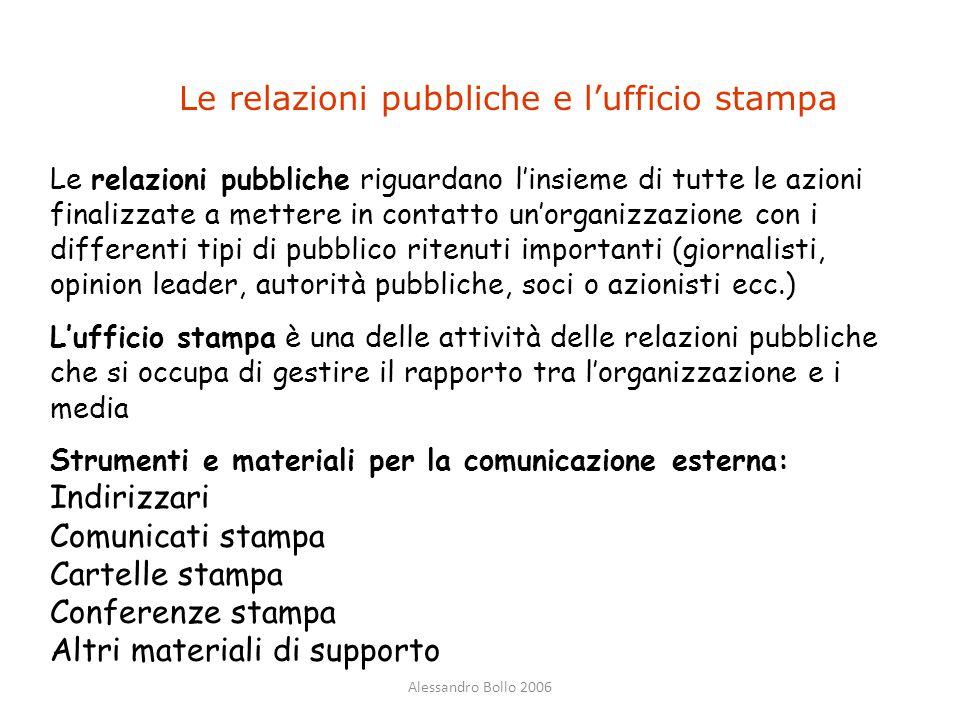 Alessandro Bollo 2006 Le relazioni pubbliche e l'ufficio stampa Le relazioni pubbliche riguardano l'insieme di tutte le azioni finalizzate a mettere i