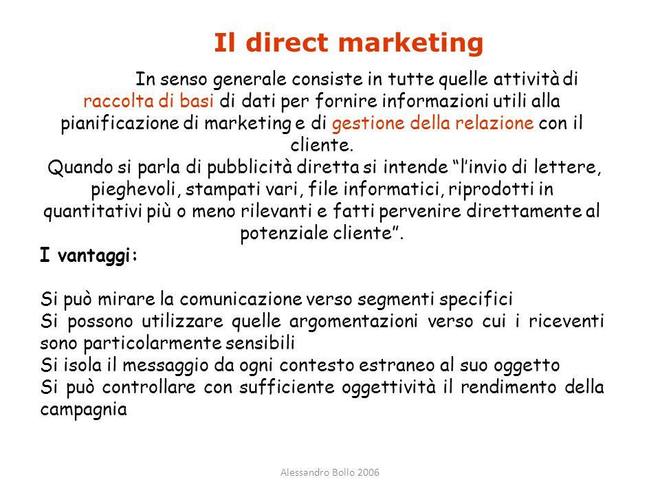Alessandro Bollo 2006 Il direct marketing In senso generale consiste in tutte quelle attività di raccolta di basi di dati per fornire informazioni uti
