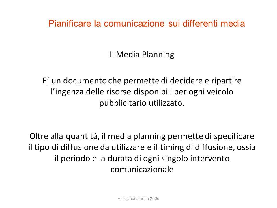 Alessandro Bollo 2006 Pianificare la comunicazione sui differenti media Il Media Planning E' un documento che permette di decidere e ripartire l'ingen