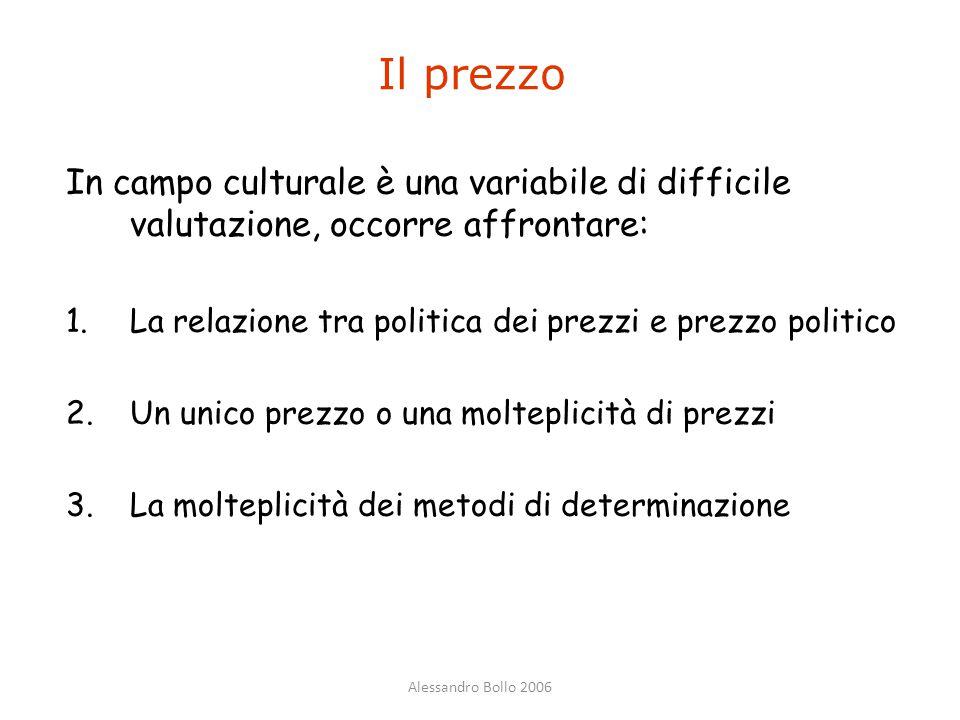 Alessandro Bollo 2006 Il prezzo In campo culturale è una variabile di difficile valutazione, occorre affrontare: 1.La relazione tra politica dei prezz
