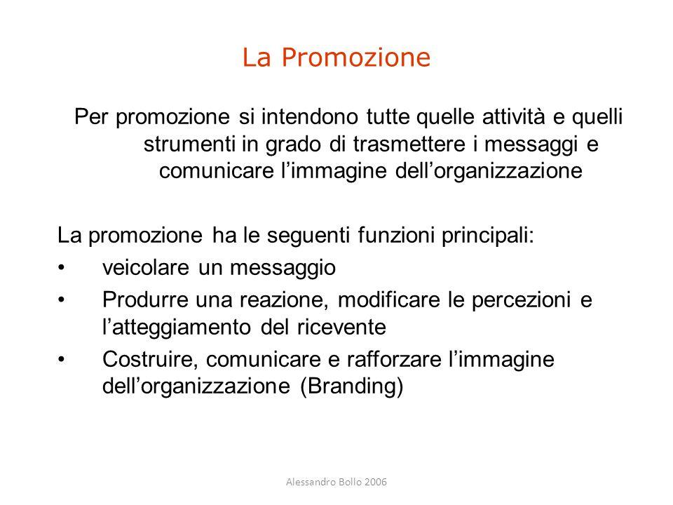 Per promozione si intendono tutte quelle attività e quelli strumenti in grado di trasmettere i messaggi e comunicare l'immagine dell'organizzazione La