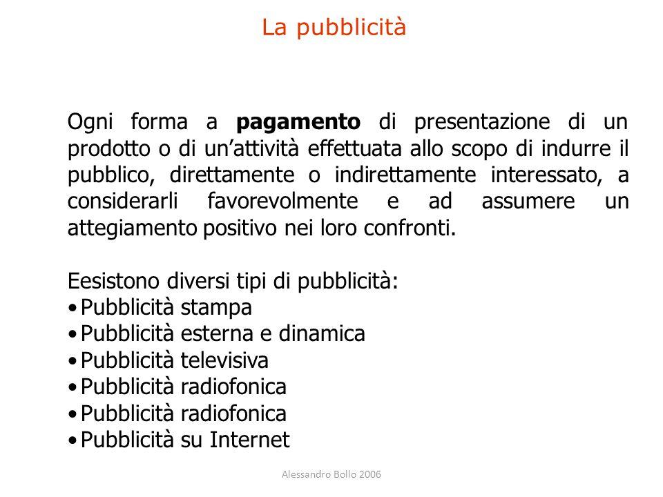 Alessandro Bollo 2006 La pubblicità Ogni forma a pagamento di presentazione di un prodotto o di un'attività effettuata allo scopo di indurre il pubbli