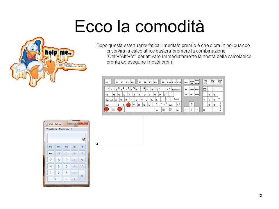6 SHORTCUT DA TASTIERA Vi sono molte scorciatoie da tastiera che velocizzano il lavoro col computer: –Per passare da un'applicazione ad un'altra basta +