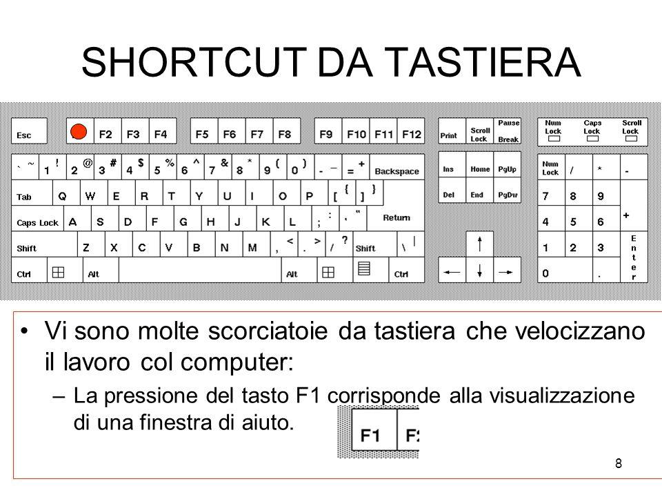 8 SHORTCUT DA TASTIERA Vi sono molte scorciatoie da tastiera che velocizzano il lavoro col computer: –La pressione del tasto F1 corrisponde alla visualizzazione di una finestra di aiuto.
