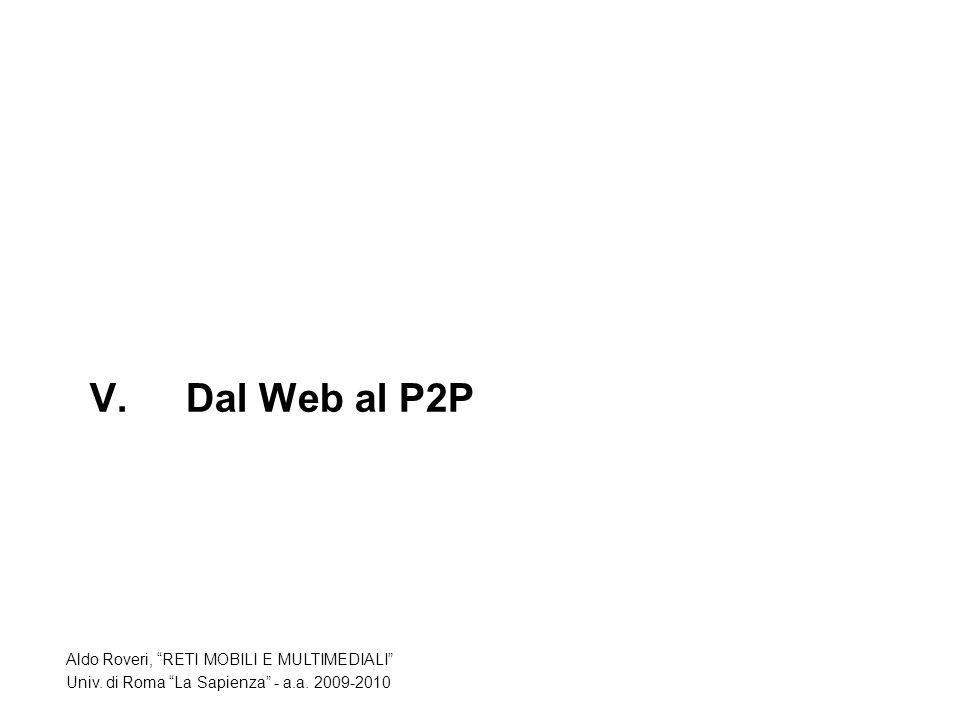 V.Dal Web al P2P Aldo Roveri, RETI MOBILI E MULTIMEDIALI Univ.