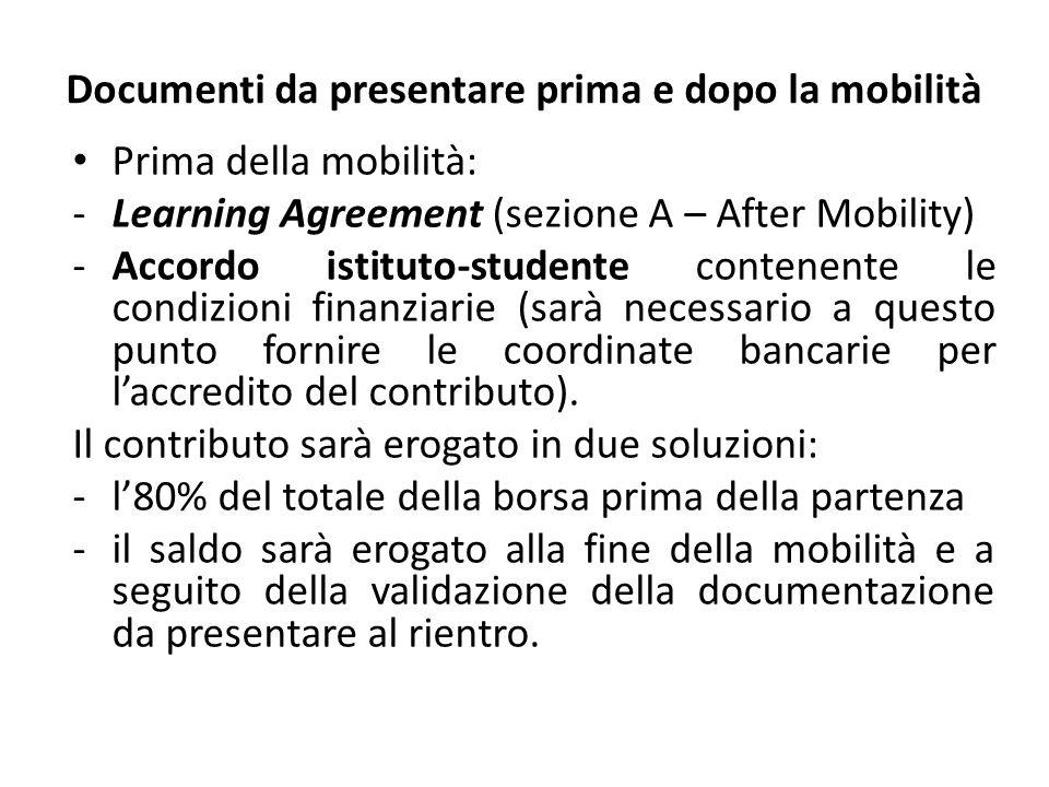 Documenti da presentare prima e dopo la mobilità Prima della mobilità: -Learning Agreement (sezione A – After Mobility) -Accordo istituto-studente con