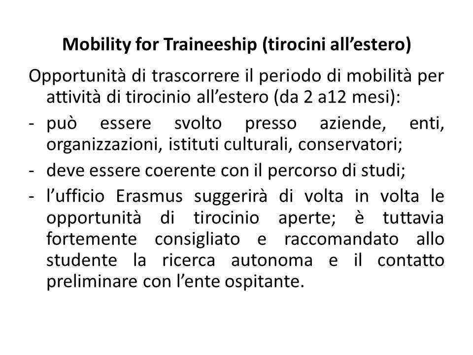 Mobility for Traineeship (tirocini all'estero) Opportunità di trascorrere il periodo di mobilità per attività di tirocinio all'estero (da 2 a12 mesi):
