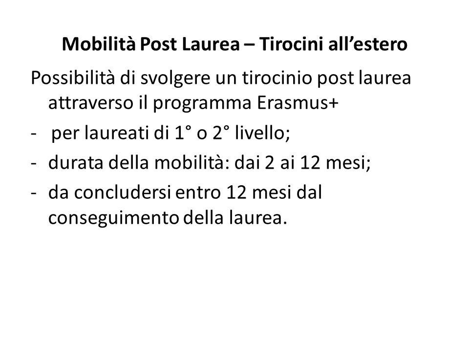Mobilità Post Laurea – Tirocini all'estero Possibilità di svolgere un tirocinio post laurea attraverso il programma Erasmus+ - per laureati di 1° o 2°